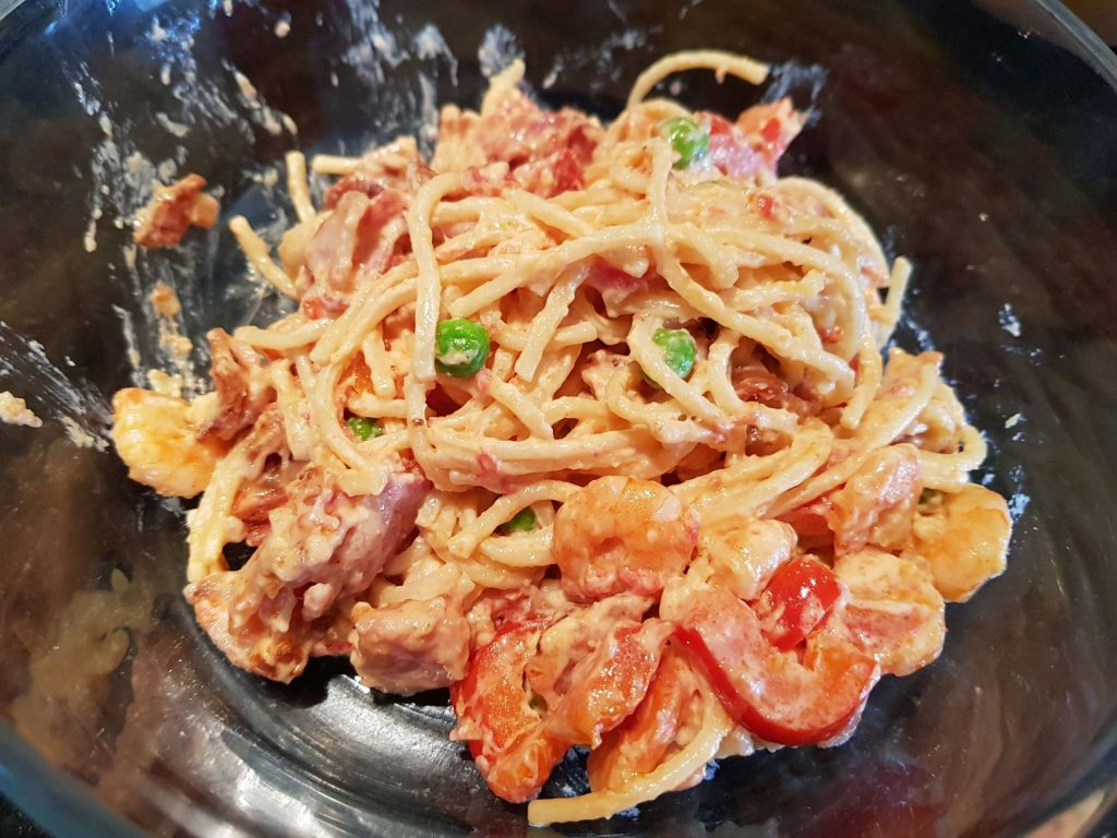 bacon and shrimp pasta travel is sweet