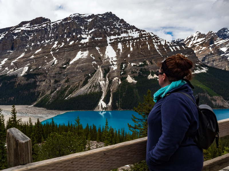 carolyn in awe of peyto lake travel is sweet