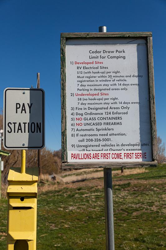 boondocking cedar draw park cost