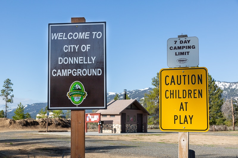 boondocking donnelly campgrounds idaho sign